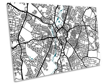 Leciester Map City Minimalistic Modern CANVAS WALL ART Picture Print