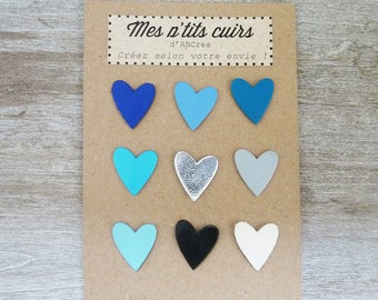 set of 9 hearts 2 cm leather cord to sew or glue
