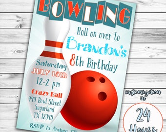 Bowling Invitation, Bowling Birthday Invitation, Bowling Party Invitation, Boy Bowling Invitation, Boy Birthday Invitation, Bowling Party
