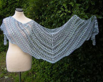 Shawl, crochet, stole, wrap, scarf jagged, blue