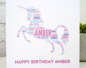 Personalised Unicorn Card, Personalised Birthday Card, Personalised  Card, Unicorn Card