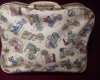 1950s Rare Vinyl Handbag / Vintage Over night bag / Vintage Vinyl  Holdall