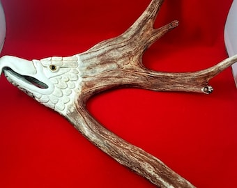 Moose Antler Hand Carved Eagle Head