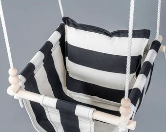 Toddler Swing, Monochrome Nursery Swing, Black White Swing, Baby Swing Chair,  Indoor