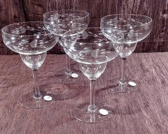 Set of 4 Princess House Heritage crystal margarita glasses, free shipping
