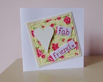 friend birthday, best friend card, BFF card, Fab friend card, special friend card, thank you card, card for her, Cath Kidston fabric,