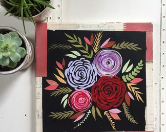 Original Flower Painting// Paint Torn Paper Collage // Original Collage & Painting // Pink and Purple Flowers // 12 x 12 Inch Painting