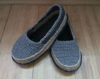 moccasins crochet slippers crochet soles made of jute knitted slipper women slippers jute  espadrilles slipper jute soles Crochet loafers
