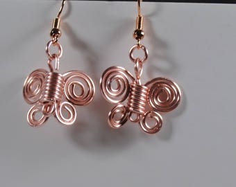 Handmade rose gold wire plate butterfly earrings