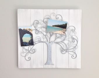 Photo display message holder metal tree photograph display board photo display board shabby chic decor farmhouse decor