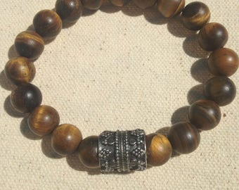 Matte tiger eye bracelet-beaded bracelet- tiger eye beads-stretch bracelet-gemstone- casual-Men's jewelry