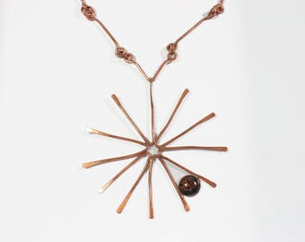Huge Modernist Necklace | Copper Starburst | Mid Century Modern Style | Atomic |  Statement Necklace | Wearable Art | Gift For Her