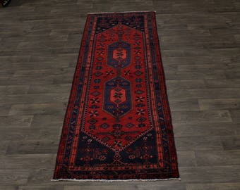 Beautiful Handmade Tribal Runner Hamedan Persian Rug Oriental Area Carpet 3ʹ5X10