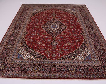 Great Shape Traditional Signed Kashan Persian Rug Oriental Area Carpet 10X13