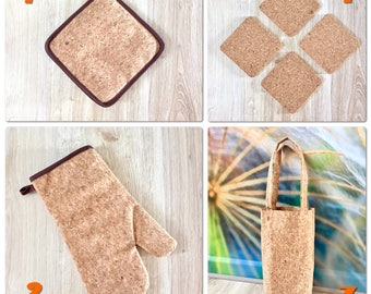 Cork Handmade Kitchen Set - Gift for Her Purse bag, potholder, mitten for cooking, cup holders, Eco Friendly, Handmade Housewarming gift