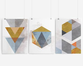 Geometric Print Geometric Art Geometric Abstract Art Geometric Wall Art Prints Set Of 3 Prints Wall Art Print Set Art Set Of 3 Prints