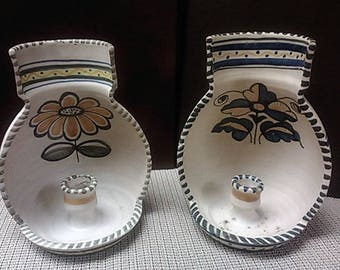 Talavera Candle Wall Sconces from Spain. Early to mid-1900s