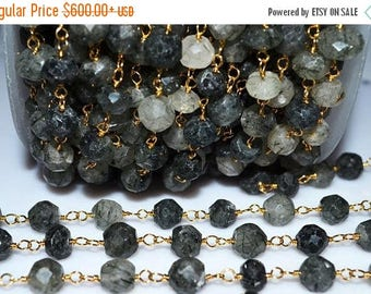 50% OFF Beautiful Rutile Rosary Beaded Chain - Rutile Faceted  Wire Wrapped Beaded Chain , 7 - 8 mm - RB5138