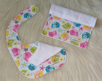 Burp cloth and baby bib, Cotton baby bib and burp cloth, Bird gift set, Baby shower gift