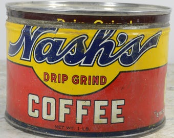 Vintage Nash's Coffee Tin Can 1lb Key Wind with Lid Rustic Farmhouse Decor
