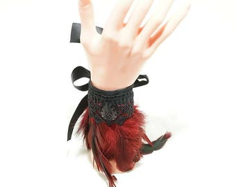 Feather cuffs winered / spring arm warmers in Burgundy with Ribbon and cabochon