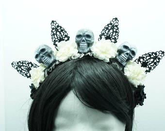 SALE goth roses headband headpiece skull