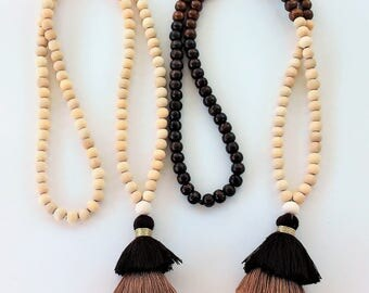 BROWN/CREAM Triple tassel Mala Necklace-108 + 1 wooden beads-Meditation Necklace-Collar para meditación-Beaded tassel necklace-Yoga necklace