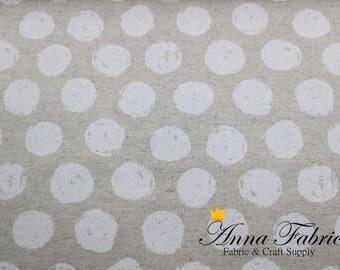Japanese Fabric   Japanese number 11 Canvas Fabric   KINARI HOUSE   White dot, ball, beige
