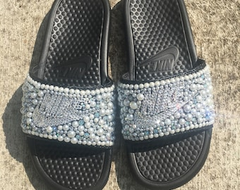 Black Bedazzled Nike Slides