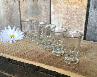 Vintage juice glasses clear glass drinking glasses orange juice decor country farmhouse decor cabin breakfast
