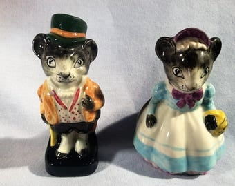 Vintage Lady and Gentleman Mouse Salt and Pepper Shakers - Made in England