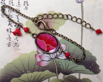Bracelet-paper Japanese thought red and fuchsia.