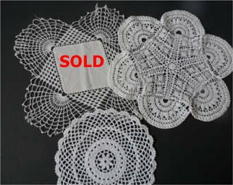 FREE SHIPPING USA White Crocheted Doiles Round, Small, White Fabric Doily Trimmed in Crochet  161A