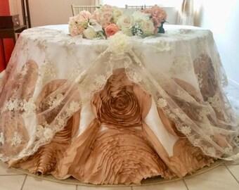 Cinderella Mocha Rosette tablecloth, Large Rosette Tablecloth, Rosette tablecloth for wedding,