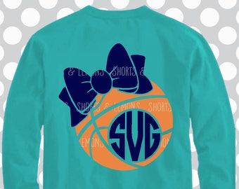 Basketball SVG, Basketball cut file, bow, svg file, Basketball shirt, Basketball Monogram, eps, dxf, Basketball, sports, basketball mom svg