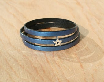 Women's leather bracelet 5 mm - 3 rounds / star - blue metal - magnetic clasp