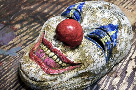 Clown Mask Halloween Faux Wood Carved With Magnetic Nose