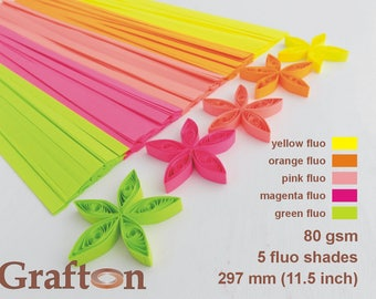Fluo Shades, Paper Quilling Strips, Set of 5 Colors, Mix of 5 colors, Yellow Fluo, Orange Fluo, Pink Fluo, Magenta Fluo, Green Fluo