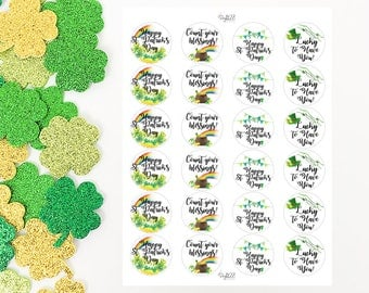 St. Patrick's Day Stickers Round, White, Shamrock, Pot of Gold, Lucky, Blessings, Happy