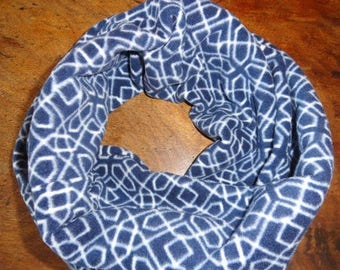 ON SALE CIJ Women's Navy and White Fleece Infinity Scarf // Gifts for Her