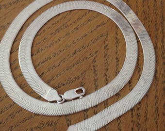 "Sterling Silver Herringbone 20"" Chain"