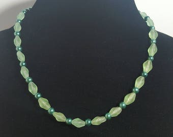 Green Glass Pearl with Sea Foam Green Beads Necklace