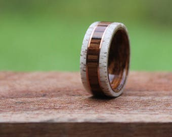 Elk Antler Wood Ring - Honduran  Rosewood Antler Wedding Band Wood Ring  Wooden Ring Men Engagement Ring Woman Anniversary Ring