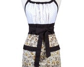 Womens Retro Chef Apron Scattered Browns on Ivory Everblooming Retro Vintage Inspired Kitchen Cooking Hostess Apron with Pockets