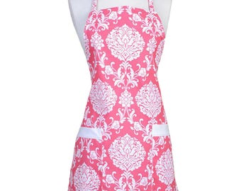 Womens Kitchen Apron Hot Pink and White Floral Damask Retro Chef Canvas with Pockets, Towel Loop and Adjustable Neck Ties (CS)