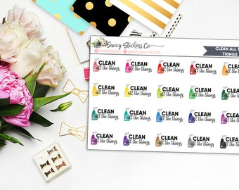 Clean All The Things Planner Stickers for use with Erin Condren Lifeplanner™, Happy Planner