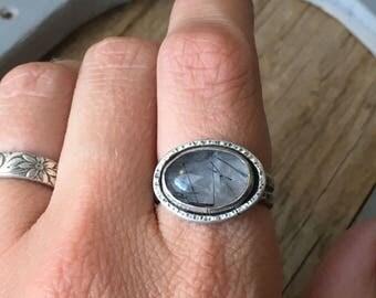 Rutilated Quartz Ring - Black Needle Quartz - Rutilated Quartz Jewelry - Quartz Silver Ring - Hammered Silver Ring - Size 8.5 - 17027