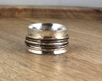 Sterling Silver and Gold Spinner Ring - Mixed Metal - Black Silver - Black and Gold - Fiddle Ring - Worry Ring - Silver Band Ring  -