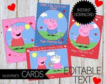 Valentine's Day Peppa Pig PRINTABLE Editable Cards- Instant Download | Peppa Pig Valentine's | Editable Valentines Cards