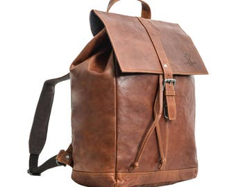 Gusti leather backpack with waterproof lining